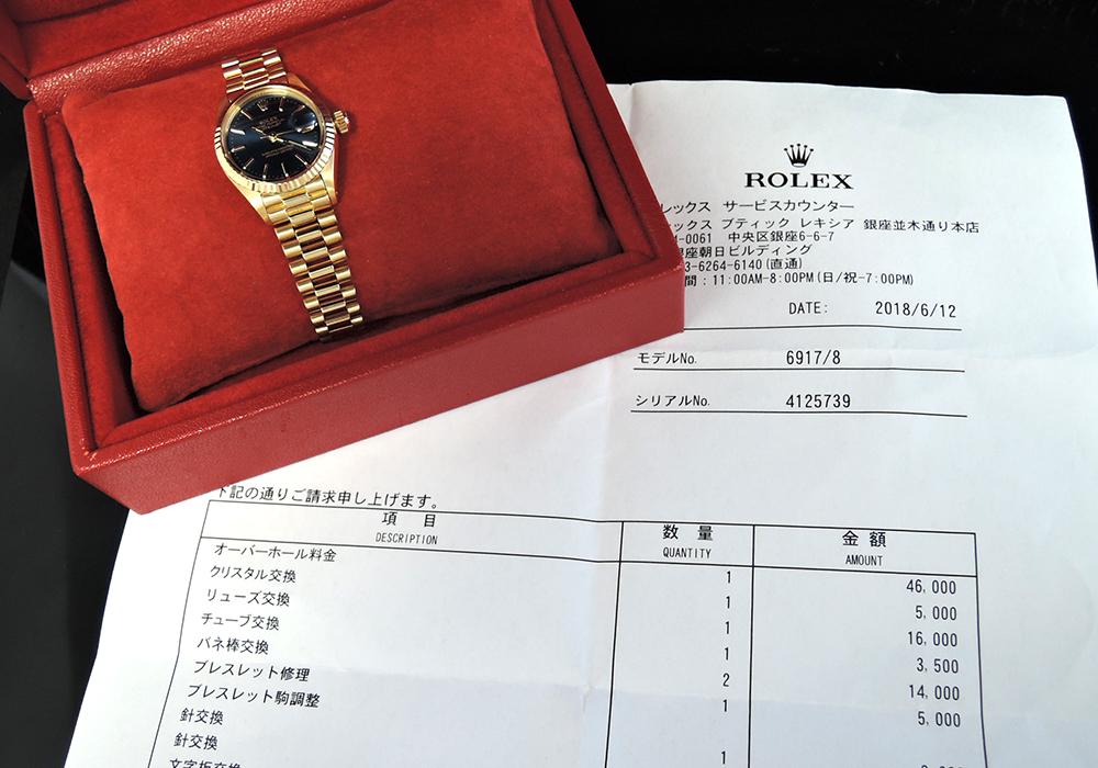ROLEX デイトジャスト 6917 18Kイエローゴールド  ネイビー文字盤 自動巻 レディース腕時計 日本ロレックス修理 OH済 保証書 【委託時計】