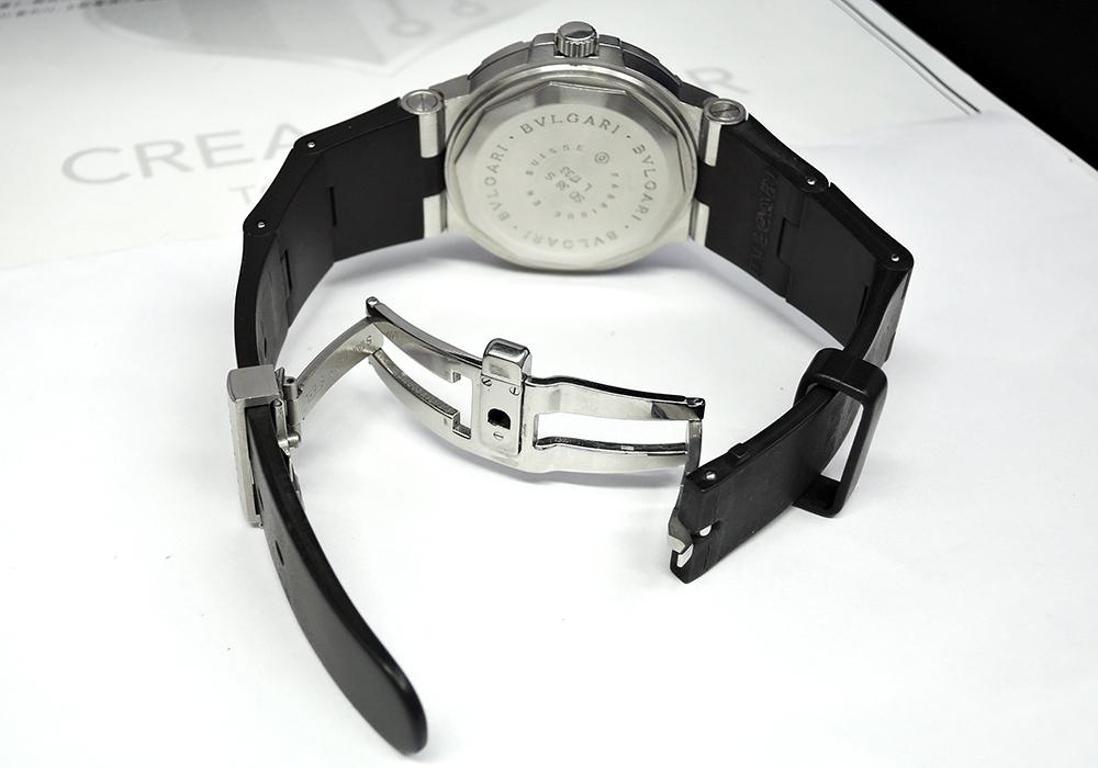 BVLGARI ディアゴノスクーバ SD38S ステンレス/ラバー 自動巻 黒文字盤 メンズ 時計 【委託時計】