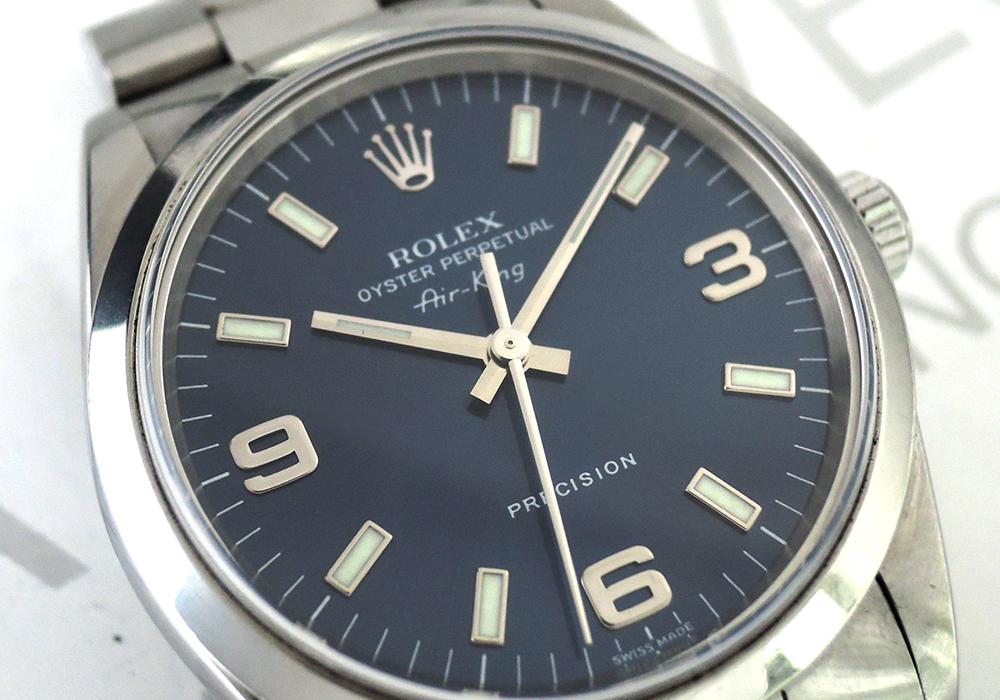 ROLEX エアキング 14000 青文字盤 自動巻 ステンレス メンズ 時計 【委託時計】