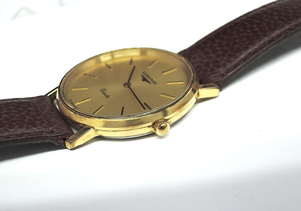 LONGINES クオーツ メンズ シャンパン文字盤 社外ベルト 【委託時計】