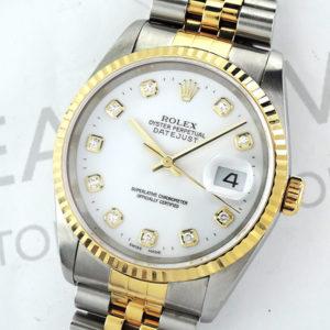 ROLEX デイトジャスト16233G Y番 シャンパンG 18KYGxSS 10Pダイヤ 保証書 メンズ 時計 【委託時計】