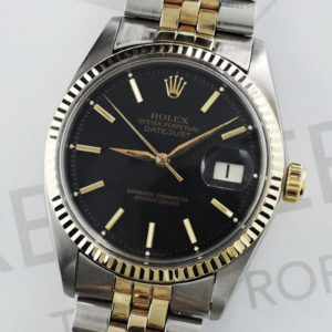 ROLEX デイトジャスト 1601 コンビ 9~番 自動巻 SS 黒文字盤 メンズ 腕時計 【委託時計】
