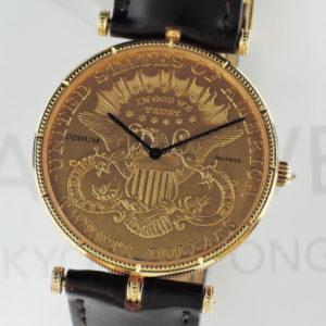 CORUM コインウィッチ $20 1904 アンティーク クォーツ ゴールド文字盤 カミーユフォルネ K18YG メンズ 腕時計 【委託時計】