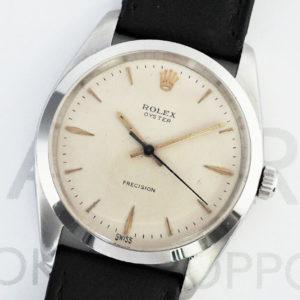 ROLEX オイスター プレシジョン 6424 ゴールドインデックス アンティーク 手巻き ステンレス メンズ 腕時計 純正ストラップ 【委託時計】