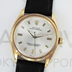 ROLEX オイスターパーペチュアル 6567 メンズ 腕時計 18KYG 自動巻 シルバー文字盤 社外ベルト 【委託時計】