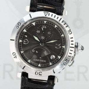 Cartier パシャ38 W3105055 GMTパワーリザーブ 2388 プラチナベゼル/SS 自動巻 腕時計 メンズ 黒文字盤 ギョーシェ 裏スケ 【委託時計】