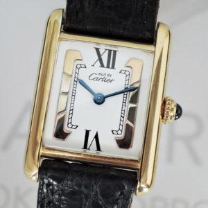 Cartier マストタンク ヴェルメイユ クオーツ SV925/GP レディース 腕時計 【委託時計】