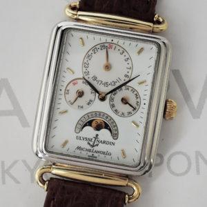 ULYSSE NARDIN ミケランジェロ 164-44 ムーンフェイズ トリプルカレンダー 自動巻 YG メンズ 腕時計 【委託時計】