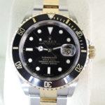 ロレックス ROLEX サブマリーナデイト コンビ 16613 SS×18KYG 黒文字盤 メンズ 腕時計 2017年 保証書 【委託時計】