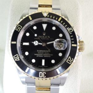 ロレックス ROLEX サブマリーナデイト コンビ 16613LN SS×18KYG 黒文字盤 メンズ 腕時計 2007年 保証書 【委託時計】
