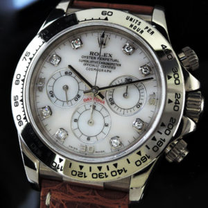 ロレックス ROLEX 16519NG DAYTONA デイトナ WGx革 ホワイトシェル 8Pダイヤ IT7543