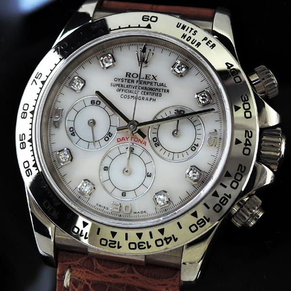 ロレックス ROLEX 16519NG DAYTONA デイトナ WGx革 ホワイトシェル 8Pダイヤ IT7543