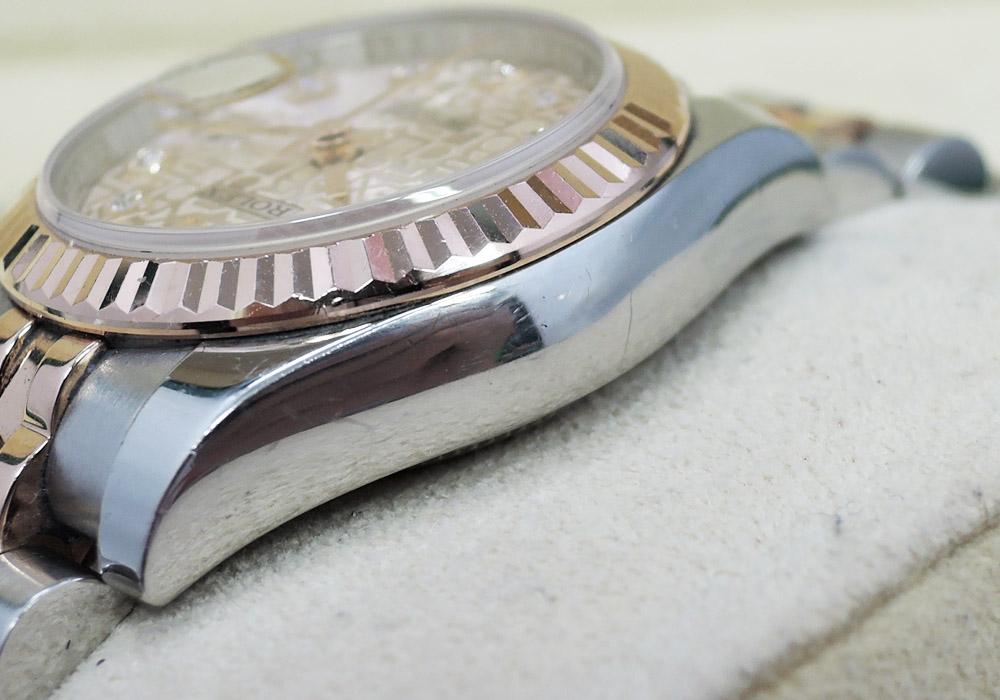 ロレックス ROLEX デイトジャスト 179171G ランダム 18KPGxSS 10Pダイヤ コンビ レディース 自動巻 彫り文字盤 CF7610