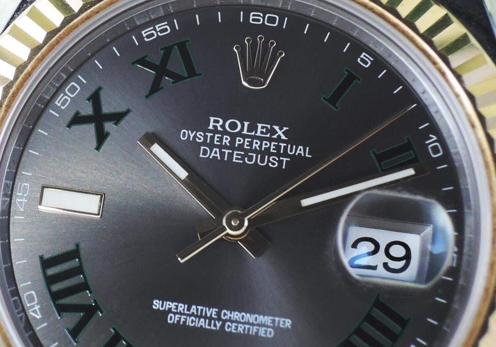 ロレックス ROLEX デイトジャスト2 116333 ランダム グリーンローマ SS×YG メンズ G番 自動巻 グレー文字盤 オイスターブレス CF7618