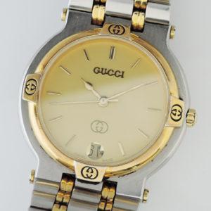 グッチ GUCCI 9000M クォーツ ユニセックス 腕時計 コンビ ゴールド文字盤 CF7646