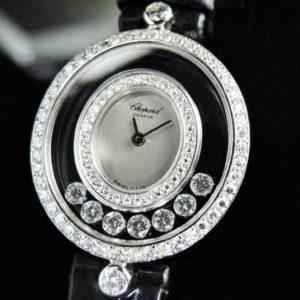 ハッピーダイヤモンド ベゼルダイヤx7ムービングダイヤ WGx革